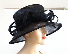 Large black open weave straw hat with straw curls, 1990s by CardCurios on Etsy