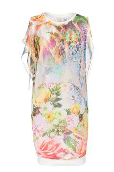 Kwiecista sukienka z mgiełką. Flowery dress with mist material. http://www.bee.com.pl/e-sklep/