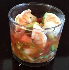 I wanted something fresh-tasting but high protein. This fit the bill! The beauty of this is you can make it all from scratch, or if you're in a hurry, buy some pico de gallo and get boiled shrimp a...