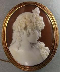 Sardonyx Shell, 15k gold cameo depicting Antinous Vertumnus, the young male lover of Emperor Hadrian. by olive