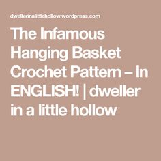 The Infamous Hanging Basket Crochet Pattern – In ENGLISH! | dweller in a little hollow