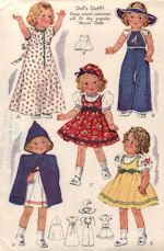 "Doll clothes pattern for dolls' outfit with embroidery designs.   Favorite styles for your doll -- peasant frock trimmed with rick rack, cape and hood, sun suit, nightie, undies and two hats.  Pattern suitable for Shirley Temple dolls as well as similar Movie Star dolls.  Pattern is available in the 13"", 16"", 18"", 20"" and the hard-to-find 25"" sizes.  See website for purchase information."