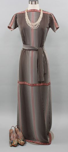 BILL BLASS Vintage Silk Dress Short Sleeve Striped Column Gown - AUTHENTIC - by StatedStyle on Etsy https://www.etsy.com/listing/169206611/bill-blass-vintage-silk-dress-short