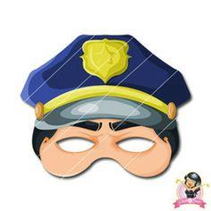 DIY Printable Police Officer Mask for Kids Printable Masks, Printables, Fireman Crafts, Paper Face Mask, Kids Police, Kindergarten Art Lessons, Mask Template, Face Masks For Kids, Print And Cut