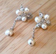 Freshwater Pearl & Crystal Drop Earrings