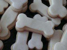 dog bone cookies - use a dogbone cookie cutter to get the shape bake then decorate as you please Paw Patrol Party Supplies, Dog Supplies, Paw Patrol Birthday Theme, Puppy Party, Pet Treats, Fun Cookies, Animal Party, Black Butler, Cookie Decorating