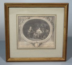 Antique French Etching by de Launay, Dedicated to the Marquis de Véri