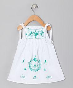 Emerald Lolita Dress - hand stitched blossoms on white