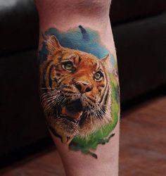3D tiger tattoo on leg - 55 Awesome Tiger Tattoo Designs  <3 <3