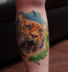3D tiger tattoo on leg - 55 Awesome Tiger Tattoo Designs  <3 <3