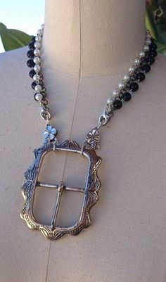 Recycled Old Belt Buckle Jewelry Necklace