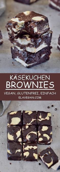 These vegan cheesecake brownies are super moist gooey and fudgy! the recipe is egg free dairy free gluten free can be made refined sugar free and nut free! vegan glutenfree cheesecake brownies chocolate dessert foodporn elavegan com air fryer chickpeas Desserts Végétaliens, Gluten Free Desserts, Chocolate Desserts, Gluten Free Recipes, Dessert Recipes, Vegan Gluten Free Brownies, Vegan Chocolate Bars, Cake Chocolate, Healthy Desserts