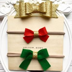 A personal favorite from my Etsy shop https://www.etsy.com/listing/555311453/christmas-baby-bows-headband-red-green