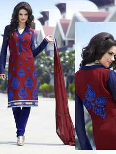 Red Faux Georgette #Churidar #Kameez with #Dupatta | $98.27 | Shop Here: http://www.utsavfashion.com/store/sarees-large.aspx?icode=slktx43a
