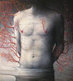 Martyrium, ( san Sebastiano) 2011   olio su tela di lino, cm 40 x 36  Agostino…