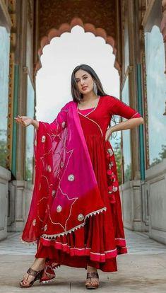 Indian Anarkali Dresses, Silk Anarkali Suits, Salwar Suits, Stylish Dress Designs, Stylish Dresses, Indian Attire, Indian Outfits, Silk Fabric Online, Cotton Silk Fabric