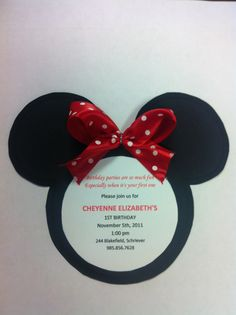 Handmade Minnie Mouse Birthday invitations.