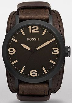 Fossil Clyde Leather Cuff Mens Watch JR1365 | eBay