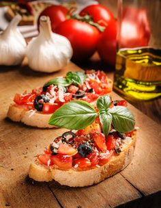 Bruschetta with Grecian Harvest Organic Olive Oil Italian Appetizers, Harvest, Food And Drink, Cooking Recipes, Organic, Snacks, Vegan, Vegetables, Kochen