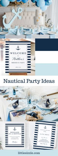 Ahoy! Get your crew aboard and celebrate life's precious moments with a nautical themed party. It's perfect for any sea-loving guest of honor. Our stylish navy and white party stationery collection includes nautical themed invitations, games and decorations. With little effort, WOW everyone with your printable nautical party decorations. Party ideas for baby shower, bridal shower or birthday. #nauticalpartyideas #nauticalbabyshower #nauticalbridalshower #summerpartyideas #boybabyshower #DIY Nautical Bridal Showers, Summer Bridal Showers, Nautical Party, Baby Shower Parties, Baby Shower Themes, Shower Ideas, Birthday Party Themes, Birthday Ideas, Precious Moments
