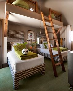 Contemporary Kids Bedroom with Carpet, Ladder, His and her closet, picture window, Fabric curtains, Vaulted ceiling, Loft