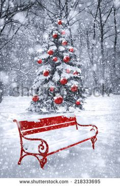 Beautiful Christmas Feelings from this Red Bench and snow Christmas Scenery, Christmas Background, Christmas Love, Christmas Images, Christmas Wallpaper, All Things Christmas, Vintage Christmas, Christmas Holidays, Christmas Crafts