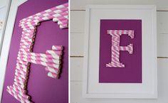 Decoración infantil DIY: cómo hacer un cuadro infantil de iniciales con pajitas