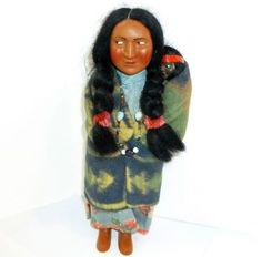 "10 1/2"" mother Skookum doll with her infant./ Ebay"
