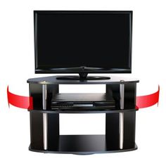 Convenience Concepts Designs2Go™ Swivel TV Stand - Black and Stainless Steel
