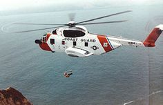 Coast Guard Air Rescue Sikorsky Helicopter circa 1970