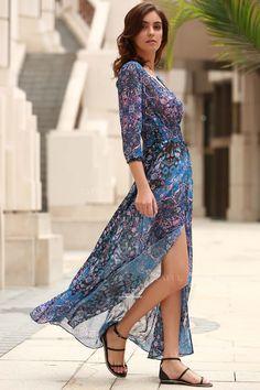 26$ V-Neck Single-Breasted Maxi Dress