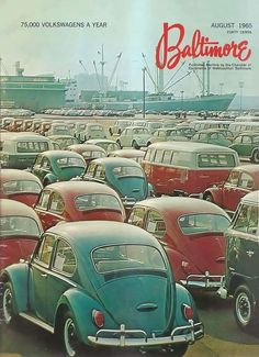 Port of Baltimore 1965 Volkswagen Karmann Ghia, Vw T1, Vw Bugs, Dodge Polara, Beetle Convertible, Vw Vintage, Retro Cars, Vw Beetles, Vintage Advertisements
