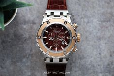 Luxury and Microbrand Watch Shop Since 2008 Invicta Reserve Watches, Luxury Watches, Rolex Watches, Beautiful Watches, Chronograph, Brown Leather, Quartz, Rose Gold, Band