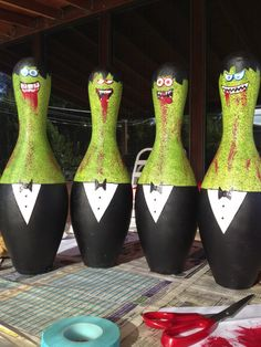 Hand Painted Zombie Bowling Pin by AEConcepts on Etsy, $40.00