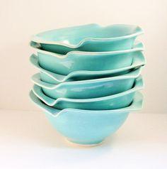 SALE Blue Ceramic Bowl   Personal size salad by BlueSkyPotteryCO, $20.00