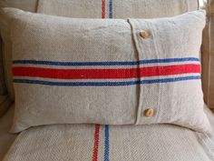 Natural linen pillow made of antique grain sack by Cornsant