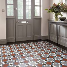 Create a statement entrance in your hallway with this beautiful mosaic-style luxury vinyl flooring from Karndean Hall Flooring, Porch Flooring, Kitchen Flooring, Flooring Ideas, Luxury Vinyl Flooring, Luxury Vinyl Tile, Karndean Design Flooring, Porch Tile, Narrow Hallway Decorating