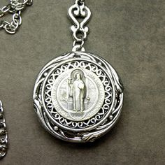 St. Benedict Antique French Silver Holy Medal by 12StarsVintage