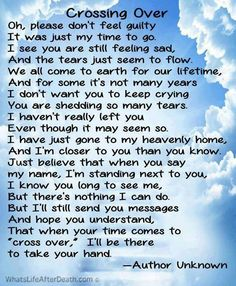 Amazing poem for loved ones left after a passing as occured