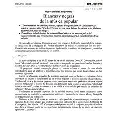 prensa; Diario El Sur. Proyecto DESENCHUFADOS TV