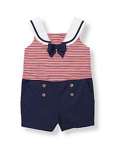Girl Americana Red Stripe Sweet Sailor Romper by Janie and Jack Toddler Girl Romper, Baby Girl Jumpsuit, Toddler Girl Dresses, Toddler Boys, Girls Dresses, Sailor Baby, Sailor Outfits, Romper Outfit, Baby Body