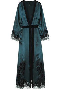 Carine Gilson | Chantilly lace-trimmed silk-satin robe | NET-A-PORTER.COM