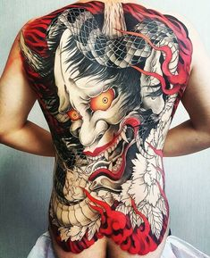 A comprehensive guide to Hannya Mask tattoo: originis, meanings, styles and photo examples. Japanese Demon Tattoo, Japanese Back Tattoo, Japanese Tattoo Women, Japanese Tattoo Symbols, Japanese Dragon Tattoos, Japanese Sleeve Tattoos, Yakuza Style Tattoo, Irezumi Tattoos, Hannya Mask Tattoo