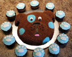 Puppy dog cake and cupcakes by Karen's Kaykes