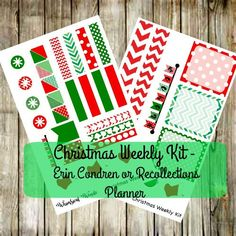 Erin Condren Or RECOLLECTIONS Planner Christmas Weekly Kit- Red and Green Stockings Chevron by WhimsicalWende on Etsy