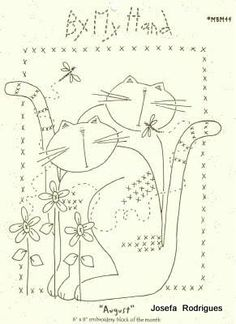 cats in redwork Hand Embroidery Patterns, Applique Patterns, Vintage Embroidery, Ribbon Embroidery, Embroidery Applique, Cross Stitch Embroidery, Stitch Patterns, Embroidery Designs, Doily Patterns