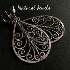 Handmade Wire Jewelry, Wire Jewelry Designs, Copper Jewelry, Jewelry Crafts, Beaded Jewelry, Jewelry Ideas, Jewellery, Wire Wrapped Earrings, Wire Earrings