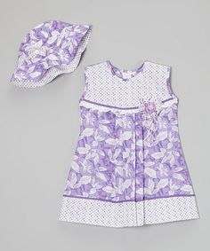 Love this Lavender Polka Dot Floral Dress & Hat - Infant, Toddler & Girls on #zulily! #zulilyfinds
