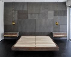 Double bed / hanging / contemporary / walnut MASTERBED_1 PATRICK WEDER DESIGN