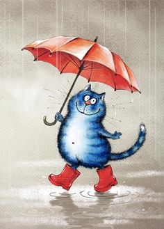 cat illustrations from Russian artist with red umbrella Art And Illustration, Illustration Mignonne, Art Fantaisiste, Art Mignon, Frida Art, Image Chat, Blue Cats, Cat Drawing, Whimsical Art